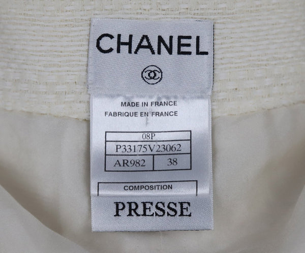 Chanel Size 4 White Ivory Cotton Skirt 4