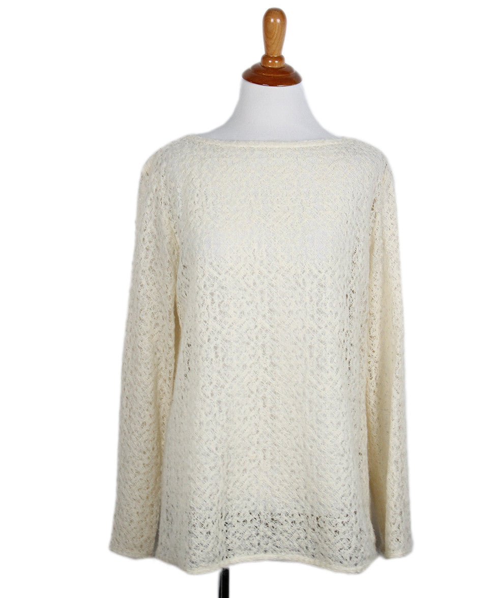 Chanel Size 6 Neutral Ivory Wool Sweater - Michael's Consignment NYC  - 1