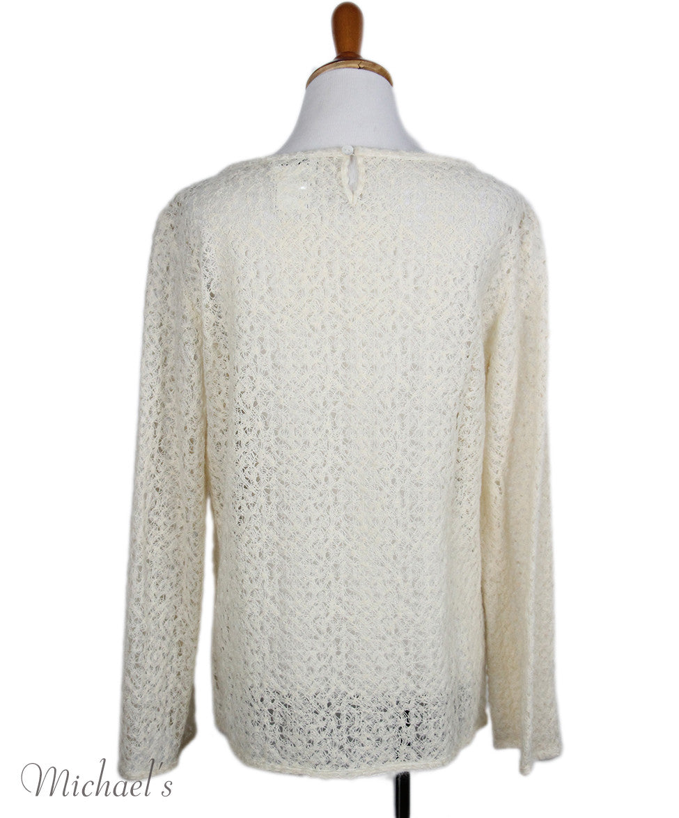 Chanel Size 6 Neutral Ivory Wool Sweater - Michael's Consignment NYC  - 3