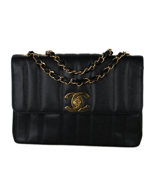 Chanel Jumbo Classic Black Caviar Leather Bag 1