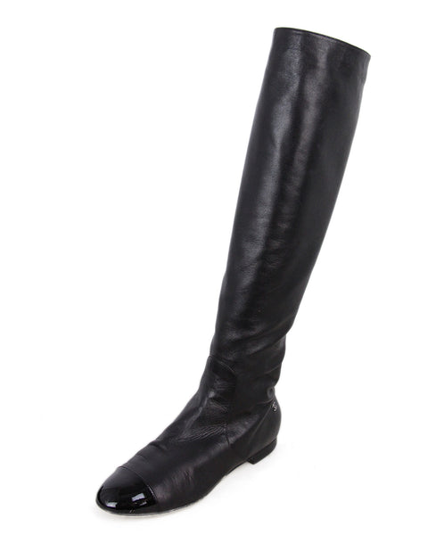 Chanel Leather Patent Trim Boots 1