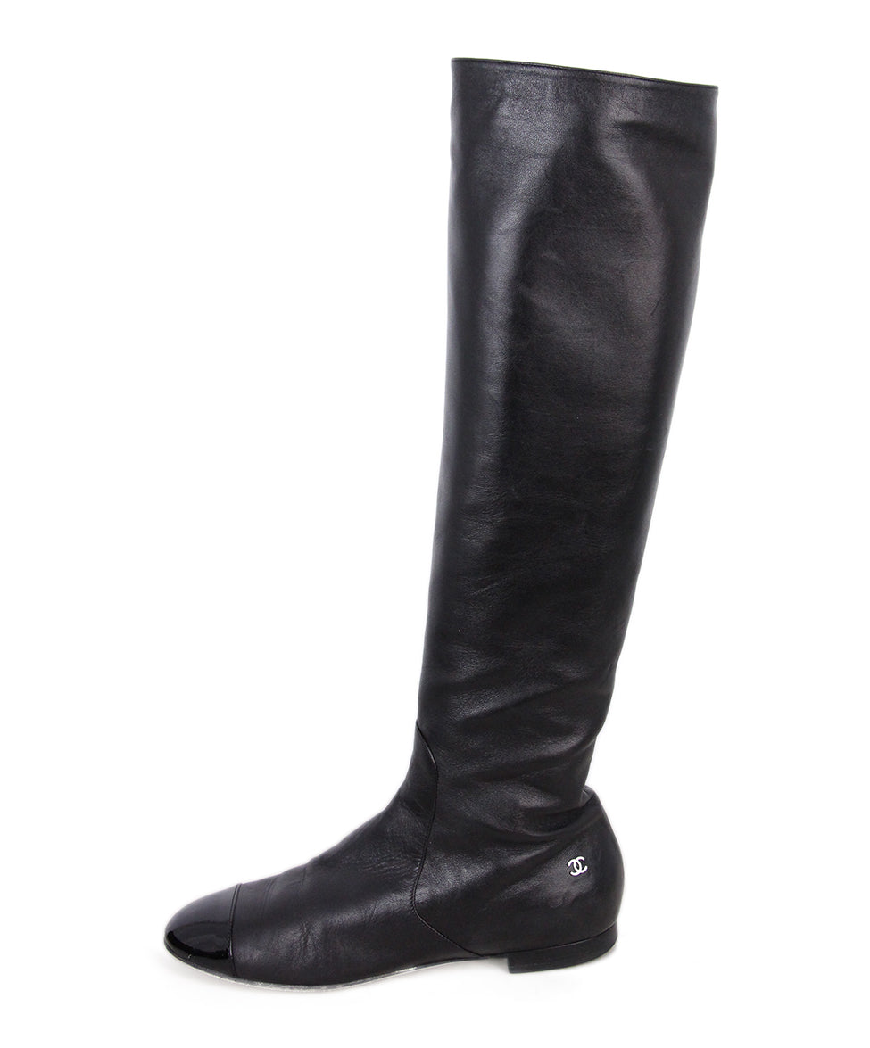 Chanel Leather Patent Trim Boots 2