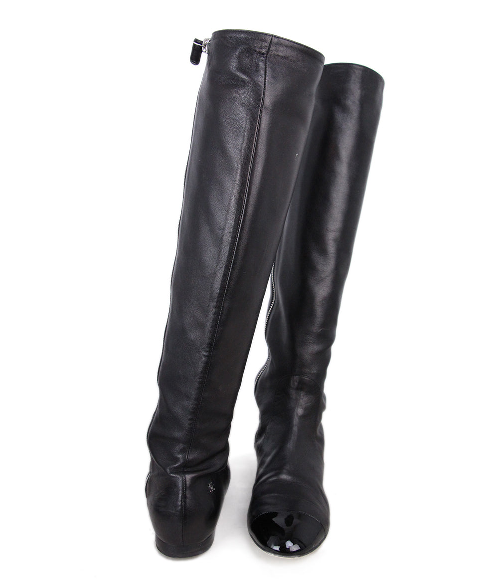 Chanel Leather Patent Trim Boots 3