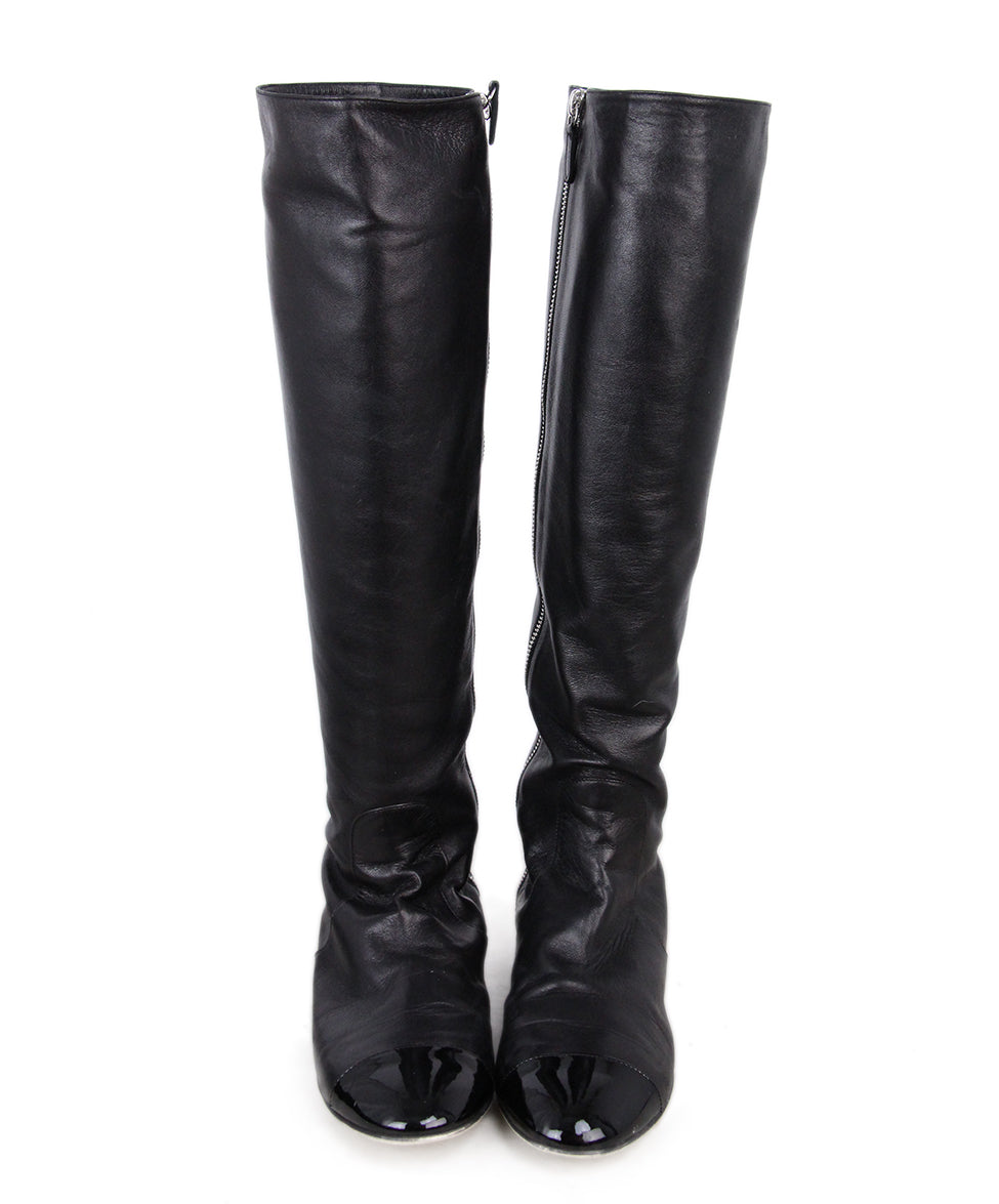 Chanel Leather Patent Trim Boots 4