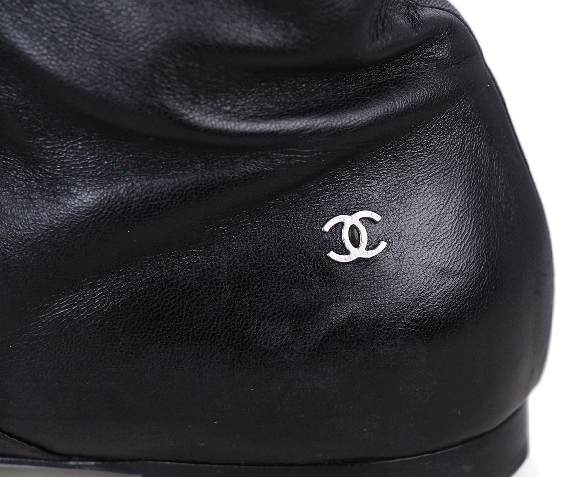 Chanel Leather Patent Trim Boots 8