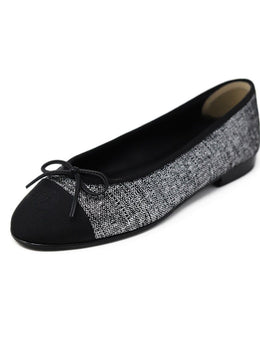 Chanel Metallic Black and silver Flats US 8.5