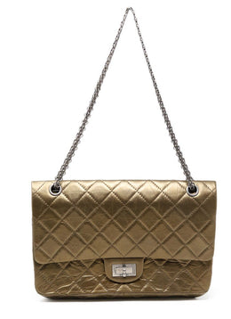 Chanel Metallic Bronze Quilted Leather Purse Reissue 1