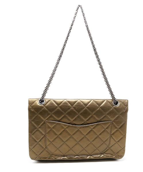 Chanel Metallic Bronze Quilted Leather Purse Reissue 3