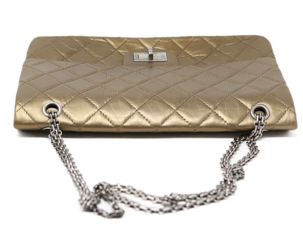 Chanel Metallic Bronze Quilted Leather Purse Reissue 5