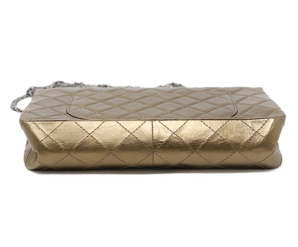 Chanel Metallic Bronze Quilted Leather Purse Reissue 4