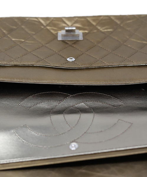 Chanel Metallic Bronze Quilted Leather Purse Reissue 12
