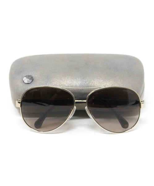 Chanel Metallic Gold Brown Lens Sunglasses 1