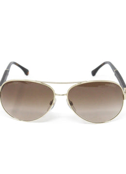 Chanel Metallic Gold Brown Lens Sunglasses 2