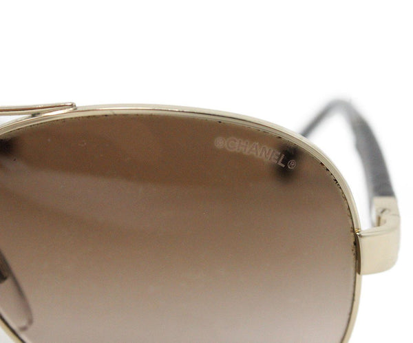 Chanel Metallic Gold Brown Lens Sunglasses 7