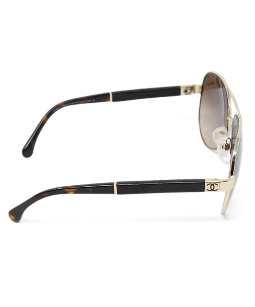 Chanel Metallic Gold Brown Lens Sunglasses 4