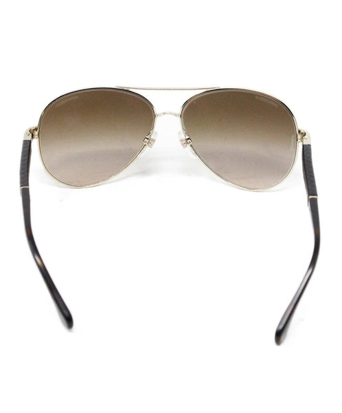 Chanel Metallic Gold Brown Lens Sunglasses 3