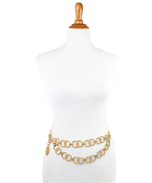 Chanel Metallic Gold Rope Chain Belt