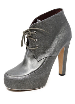 Chanel Metallic Pewter Leather Booties