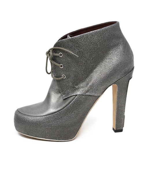 Chanel Metallic Pewter Leather Booties 1