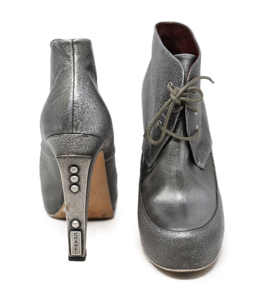 Chanel Metallic Pewter Leather Booties 2