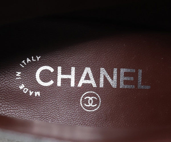 Chanel Metallic Pewter Leather Booties 4