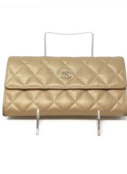 Chanel Metallic Rose Gold Quilted Caviar Leather Wallet 1