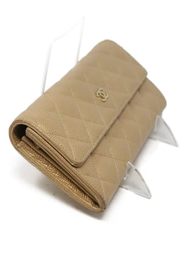 Chanel Metallic Rose Gold Quilted Caviar Leather Wallet 2