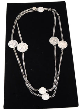 Chanel Silver Coin Chain Necklace
