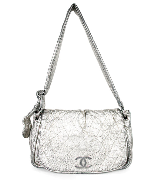 Chanel Silver Distressed Leather Handbag