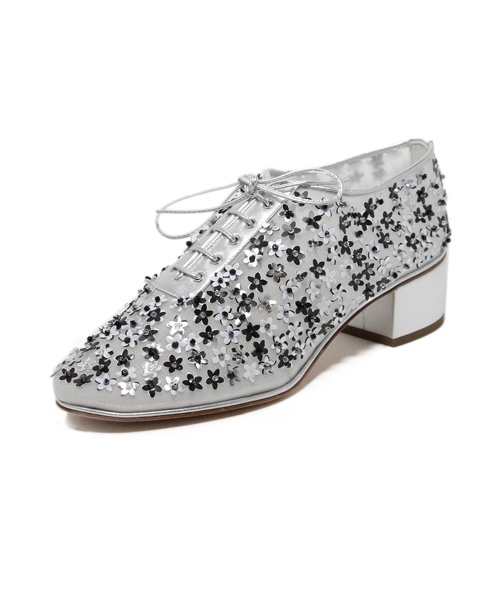 Chanel Metallic Silver Floral Appliques Shoes 1