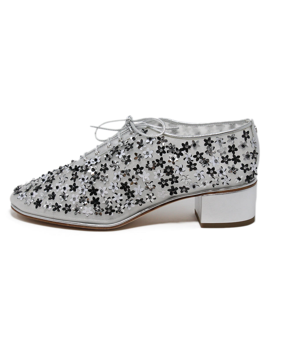 Chanel Metallic Silver Floral Appliques Shoes 2