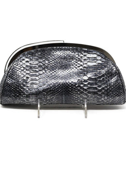 Chanel Metallic Silver Python Clutch