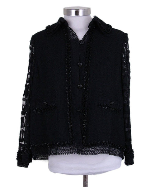 Chanel Metallic Silver Tweed Jacket 1