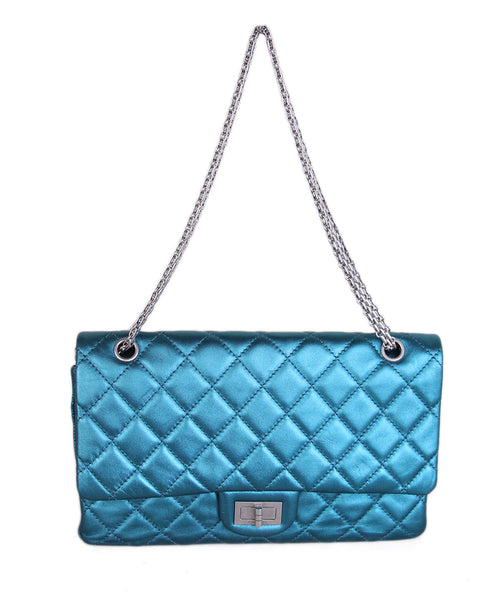 Chanel Metallic Teal Quilted leather 2.55 reissue jumbo 1