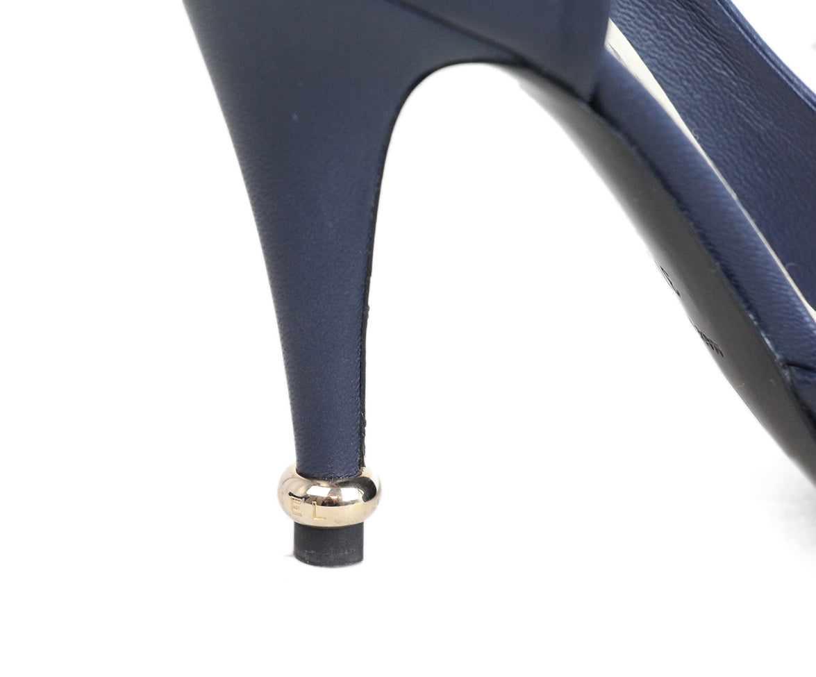 Chanel Navy Leather Flower Heels 7
