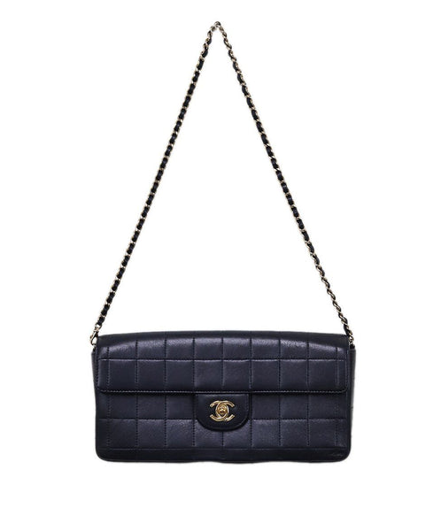 Chanel East West Flap Blue Navy Lambskin Handbag 5