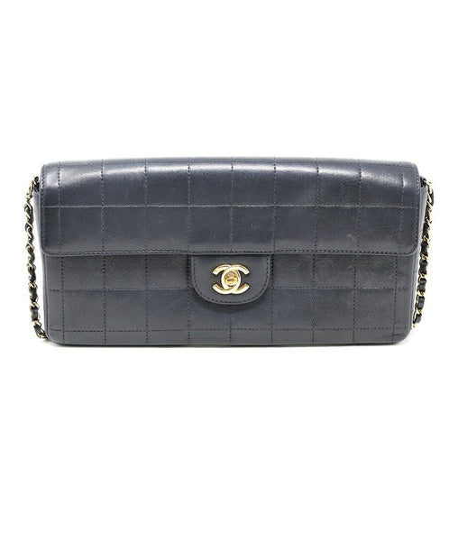 Chanel East West Flap Blue Navy Lambskin Handbag