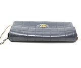 Chanel East West Flap Blue Navy Lambskin Handbag 4