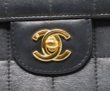 Chanel East West Flap Blue Navy Lambskin Handbag 10