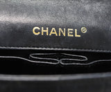 Chanel East West Flap Blue Navy Lambskin Handbag 8