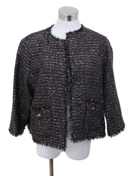 Chanel Blue Navy Tweed Red Sequins Nylon Jacket