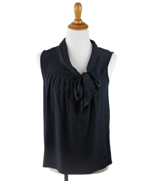 Chanel Blue Navy Silk Top