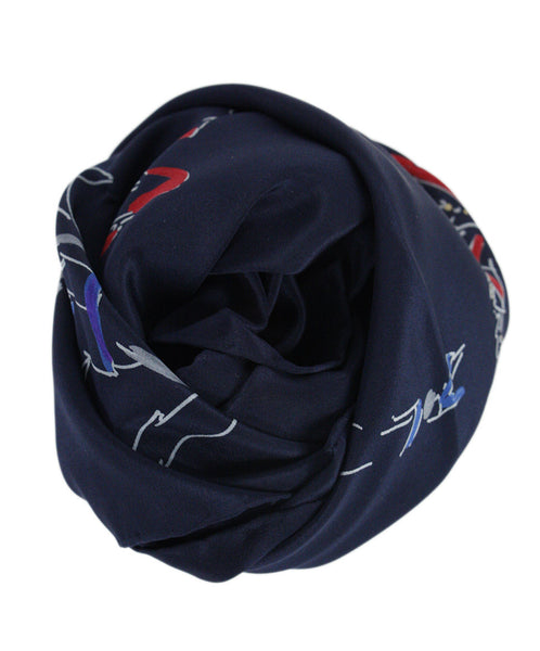 Chanel Navy Silk Scarf