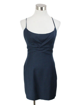 Chanel Vintage Navy Blue Silk Mini Dress 1