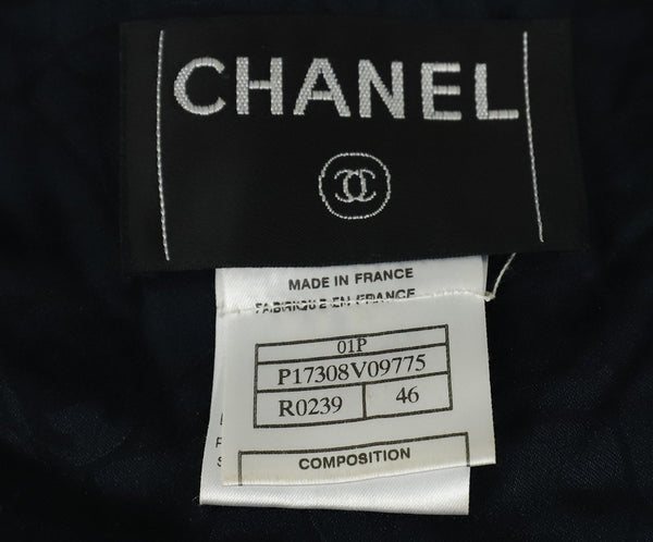 Chanel Blue Navy White Stripes Wool Silk Jacket 4