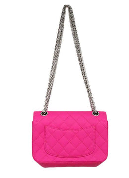 Chanel Neon Pink Quilted Leather Purse Reissue 2