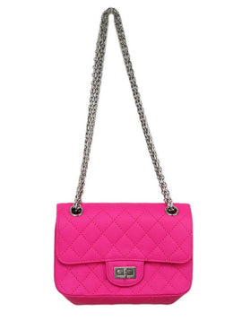 Chanel Neon Pink Quilted Leather Purse Reissue 1