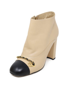 Chanel Neutral Beige Leather Black Trim Chain Booties