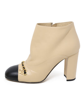 Chanel Neutral Beige Leather Black Trim Chain Booties 1