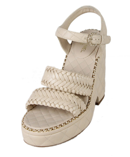 Chanel Wedge US 8 Neutral Beige Leather Gold Chain Trim W/Box Shoes